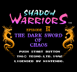 【Title】忍者龙剑传2(欧版)_Shadow Warriors II - The Dark Sword of Chaos (E).png